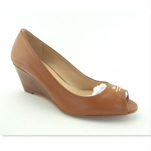 COACH Logo Brown Leather Open Toe Wedge Pumps 6
